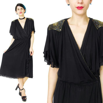 70s Sequin Wrap Dress Disco Sequined Dress Black Jersey Wrap Dress Short Sleeves V Neck Grecian Draped Dress Gold Beaded Shoulders (L)