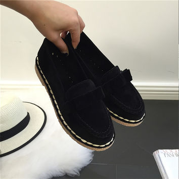AD AcolorDay 2017 Bowtie Suede Women Shoes Causal Vintage Boat Shoes Women Slip on Black Women Loafers Shoes Luxury Brand Spring