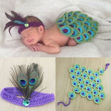 Peacock Style Baby Photography Props Newborn Toddler Cape with Feather Headband costume Crochet Animal Cloak outfit Set H073
