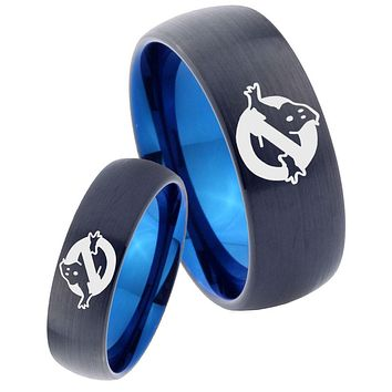 His Hers Ghostbusters Dome Tungsten Blue Mens Promise Ring Set