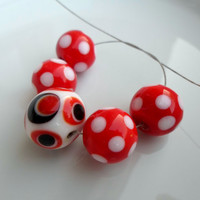 Handmade Lampwork Beads, Dance of the Polka Dots, Bright Color, Handmade Lampwork Jewelry Supplies