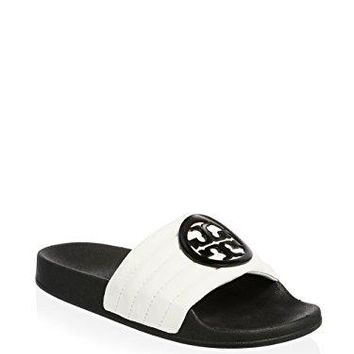 Tory Burch Lina White Slides