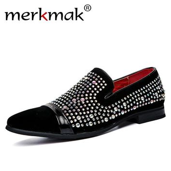 Merkmak Men Black Shoes Lofers 2017 New Suede Leather Luxury Brand Crystal Fashion Men's Flats Male Prom Wedding Party Shoes