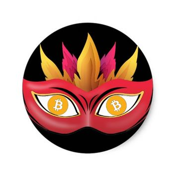 Cool Bitcoin eyes carnival mask Design Classic Round Sticker