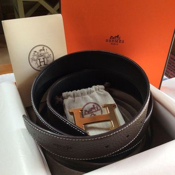 Hermes Belt Coffee & Black 105cm Gold Buckle 32mm.
