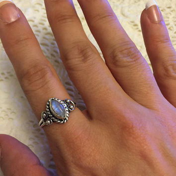 Rainbow Moonstone Sterling Silver Plated Ring