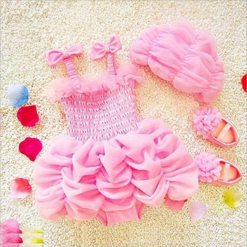 Childrens Swimsuit Cute  baby girl ruffles tutu swimwear children girl cute ruched high quality spandex swim suit baby bikini KO_25_2