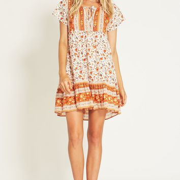 Bloom Mini Dress in Orange Blossom
