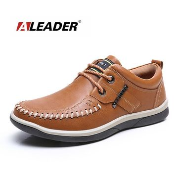 New 2017 Men Leather Shoes Casual Oxford Shoes for Men Spring Fashion Lace Up Dress Sh