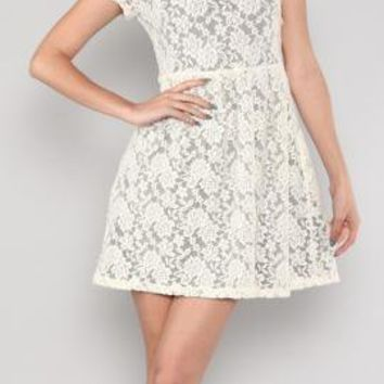 Simplicity is Key Short Sleeve Floral Lace Tea Dress in Cream/Grey | Sincerely Sweet Boutique