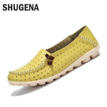 A Genuine leather summer women flats shoes female casual flat shoes women loafers shoe