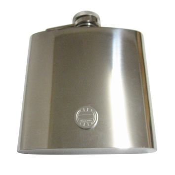 Silver Toned Etched Round Water Polo Pendant 6 Oz. Stainless Steel Flask