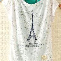 2 Pieces Tank Top Set with Eiffel Tower Print HED943 from topsales