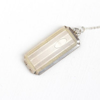 Vintage Sterling Silver Rectangular Locket Fob - Antique Art Deco Era Pendant Necklace Receipt Holder Jewelry Hallmarked HFB H.F. Barrows CO