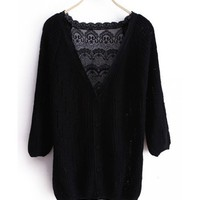 Fall Women New Style Sweet Cute V Neckline Single-Breasted Black Knitting Sweater Cardigans One Size@WXM970b $18.66 only in eFexcity.com.