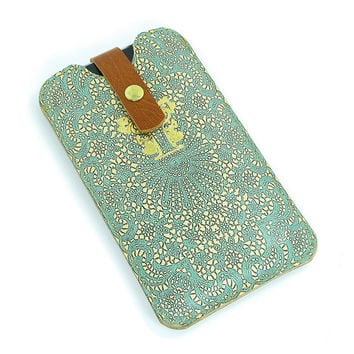 Leather iPhone  / new iTouch Case - Teal lace