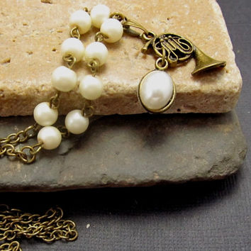 Antique French Horn Charm Necklace Vintage Inspired Off White Pearls Brass Chain
