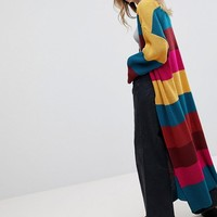 Rokoko Rainbow Stripe Maxi Chunky Knit Cardigan at asos.com