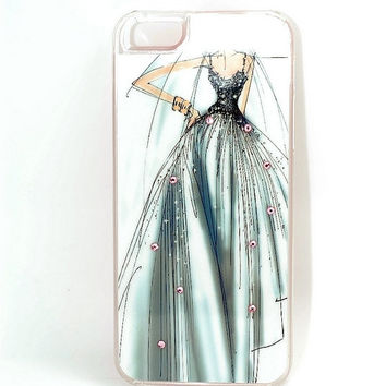 Wedding dress iPhone 5 case with Swarovski Crystals,Kawaii iPhone 5 case, Special iPhone case