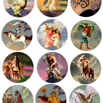 vintage fairytale fable clip art digital download collage sheet 2.5 inch circles printable scrapbooking pocket mirror coaster images
