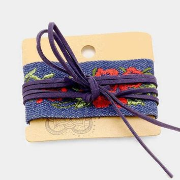 Fabric Embroidery Flower With Suede Wrap Bracelet