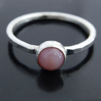Genuine Pink Opal and Sterling Silver Stacking Ring, Minimalist Ring, Delicate Opal Ring, Silver Opal Ring, Engagement Ring, Gift for Her