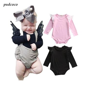 2017 Hot Newborn solid bat sleeve Baby Girl Bodysuit Lace Long Sleeve Bodysuit Jumpsuit Clothes Outfits 0-24M