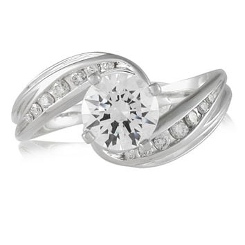Vivadore Channel Set Swirl Diamond Engagement Ring