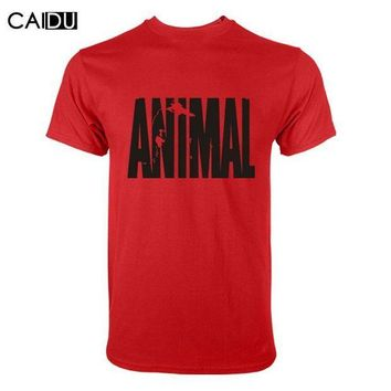 PEAPYV3 Trends in 2016 fitness cotton brand clothes for men Animal print tracksuit t shirt muscle shirt bodybuilding Tee large XXL