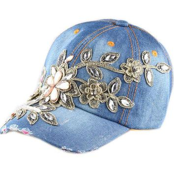 DCCKHY9 Fashion baseball cap crystal Rhinestone Floral woman snapback hats denim jeans hip hop women cowboy baseball cap