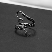 Punk Style Titanium Steel Octopus Sea Monster Squid Kraken Antique Ring Unisex Men Women Ring