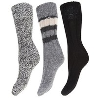 FLOSO® Ladies/Womens Thermal Thick Chunky Wool Blended Socks (Pack Of 3) (US 6.5-9.5) (Grey)