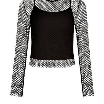 Black 2 In 1 Fishnet Crop Top | New Look