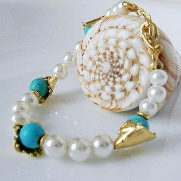 Bridal Pearl handmade with turquoise bracelet