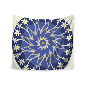 """Laura Nicholson """"Sawtooth Flower"""" Blue Nature Wall Tapestry"""