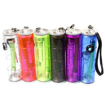 1pcs Multicolor Plastic Hookah Pipe Portable Creative Smoking Pipes Herb Tobacco Pipes Gifts Narguile Weed Grinder Smoke