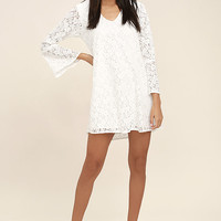 Lucy Love Wild Child White Lace Long Sleeve Dress