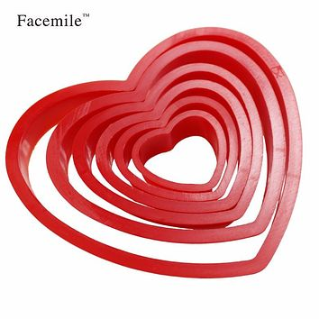 6pcs/set Heart Shaped Plastic Cake Mold Cookies Fondant Cutter Biscuits Stamp Sugar Craft Cake Decorating Moulds Baking Tools