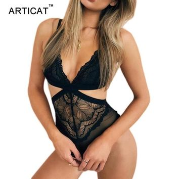Articat Sexy Deep V Neck Lace Mesh Bodysuit Women New Party Sleeveless Rompers Womens Jumpsuit Bodycon Bodysuits Overalls