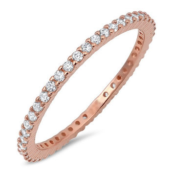 The Darling 14K Rose Gold 2TCW Micro Pave Russian Lab Diamond Wedding Band Stacking Ring