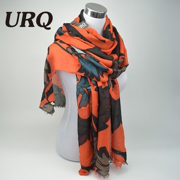 Designer Twill Cotton Scarves Big Flower Print Women Long Scarfs Ladies tassel Shawl Wrap X9A18435