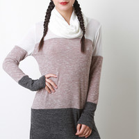 Cowl Neck Mixed Knit Sweater Dress
