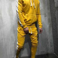 Yellow Men's Hooded Tracksuit