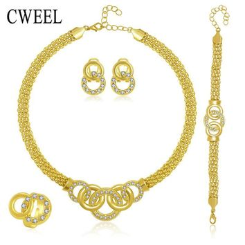 Jewelry Sets African Beads Collar Statement Necklace Earrings Bracelet Fine Rings For Women CZ Diamond Vintage Party Accessories