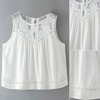 White Lace Paneled Back Split Tank Top