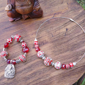 Glam Collection - One of a kind Silver Tone Ganesha Pendant Charm Bracelet/Red Precious Beaded Necklace Set Both Items Hand Made