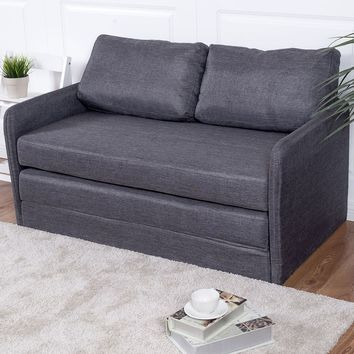 Costway Foldable Sleeper Sofa Bed Couch Loveseat lounge Living Room Furniture Gray