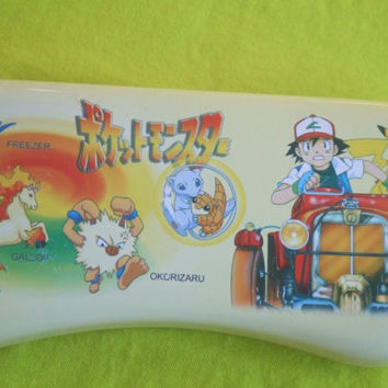 Vintage Pencil Tin Case With Removable Tray. Pocket Monsters. Pokemon. Ash Ketchum, Pikachu, Freezer, Gallop and Okorizaru.