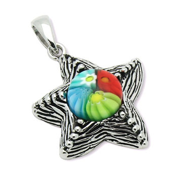 "Sterling Silver Multicolor Glass Murano Millefiori Glass Pendant Starfish (Free 18"" Chain)"