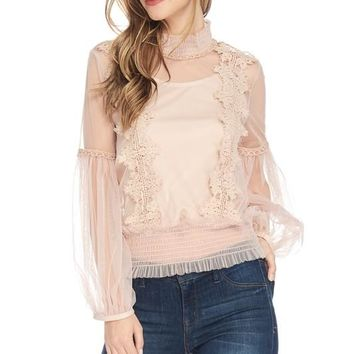 Blush Lace Embroidery Long Sleeves Flowy Top